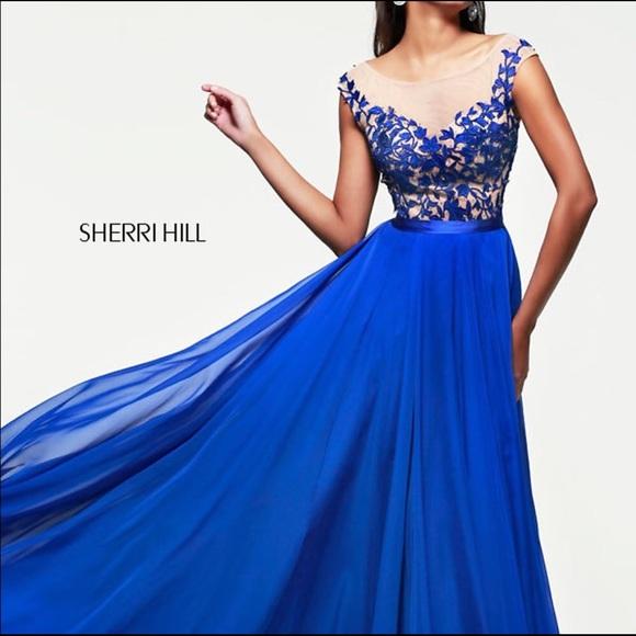 250 Sherri Hill Royal Blue Prom Dress Size 16